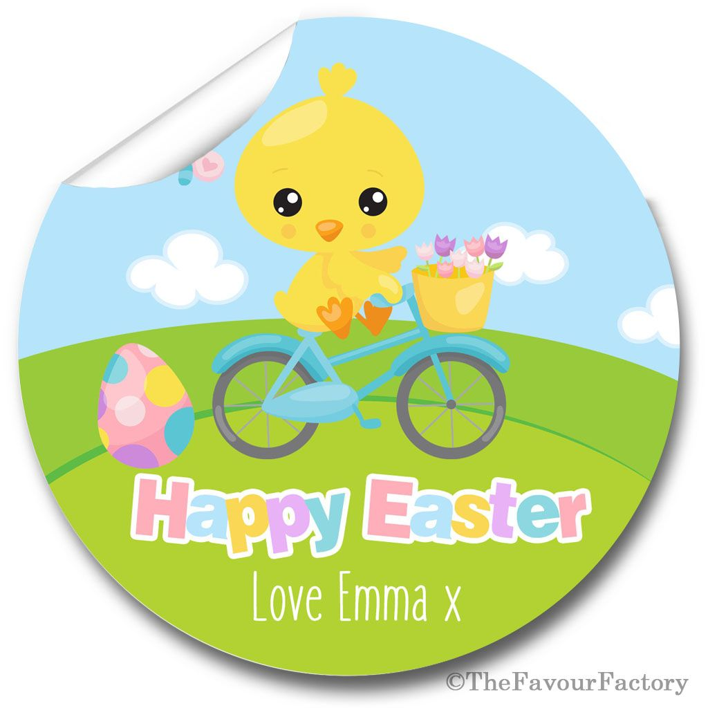 Chick on Bike Easter Stickers for your Gift Giving and Craft Fairs,  A4 she