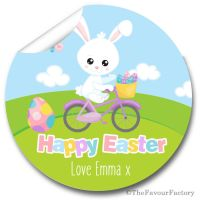 Bunny on Bike Easter Stickers for your Gift Giving and Craft Fairs,  A4 sheet x1