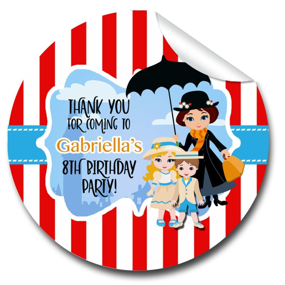 Personalised Party Stickers Mary Poppins