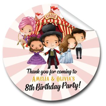 Greatest Showman Personalised Birthday party bags sweet cones stickers