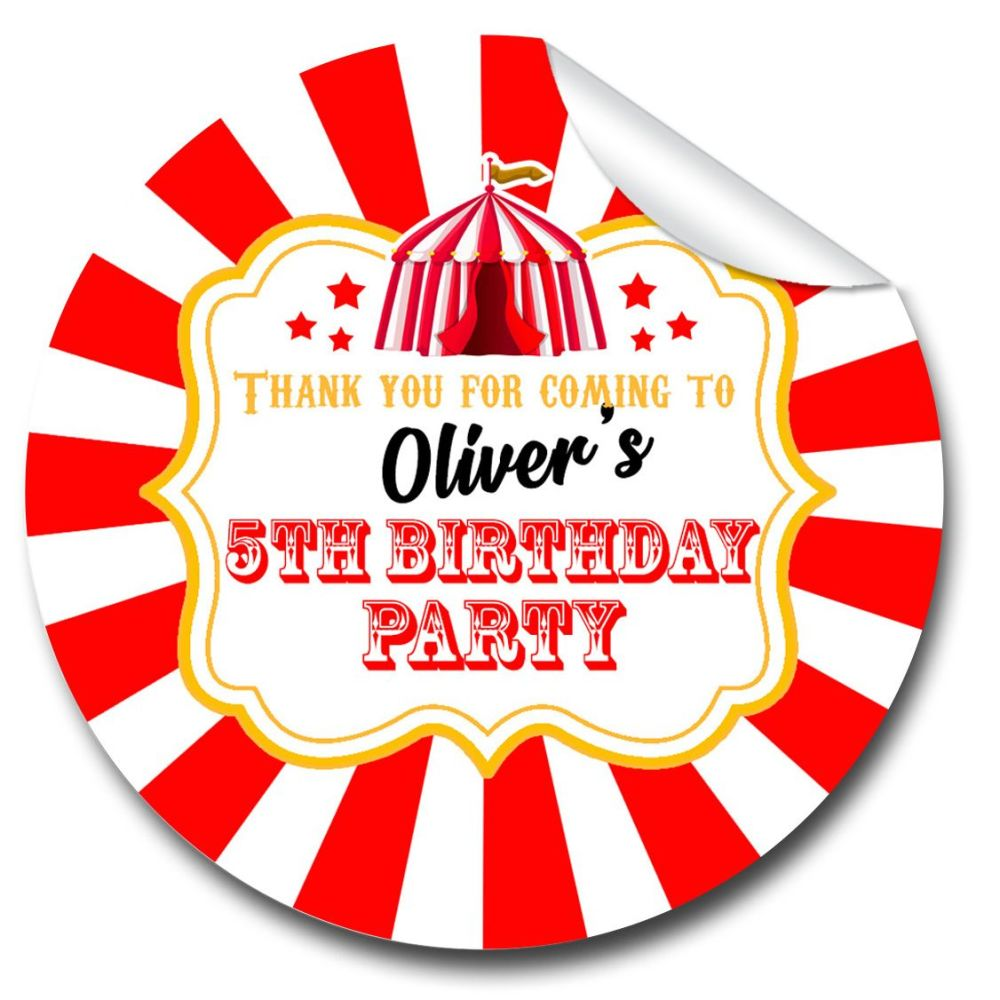 Carnival Circus Personalised Birthday Party Bags Stickers 1x A4 Sheet