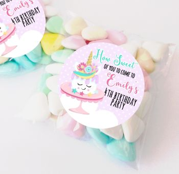 Unicorn Cake personalised Birthday party bag fillers sweet bags KITS x12