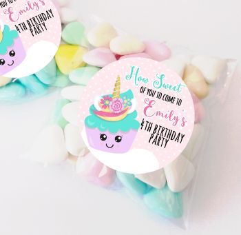 Unicorn Cupcake personalised Birthday party bag fillers sweet bags KITS x12