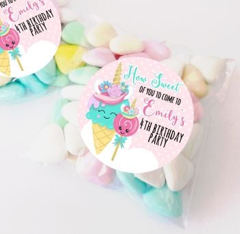 Unicorn Ice creams personalised Birthday party bag fillers sweet bags KITS x12
