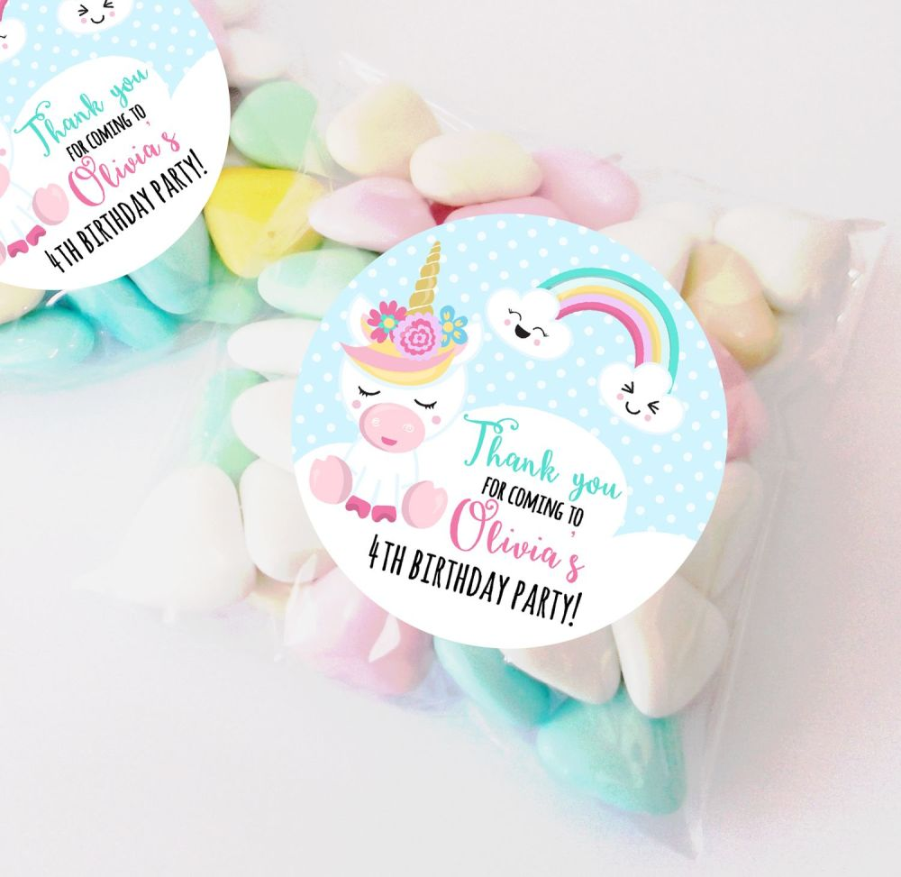 Unicorn Rainbow personalised Birthday party bag fillers sweet bags KITS x12