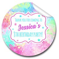 Rainbow mosaic personalised birthday party bags favours stickers 1x A4 sheet