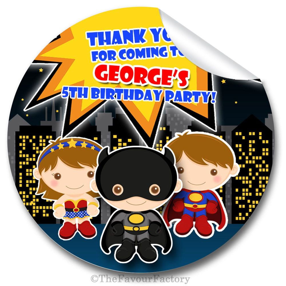 Superhero Birthday party personalised bags stickers 1x A4 sheet