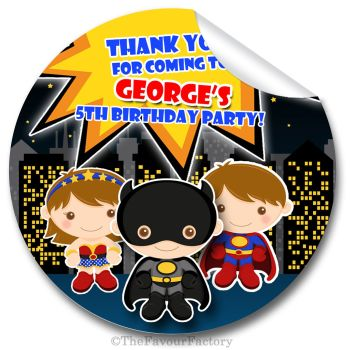 Superhero Personalised Birthday party bags Sweet Cones Stickers 1x A4 sheet