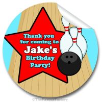 Kids Birthday Party Stickers Labels Bowling Boys