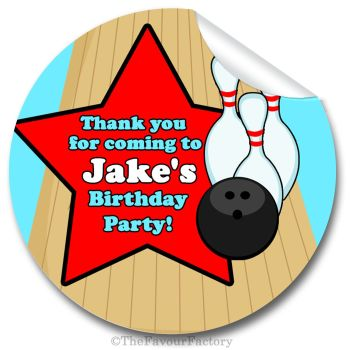 Bowling Boys Personalised Birthday party bags stickers 1x A4 sheet