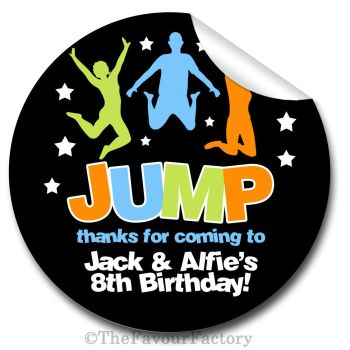 Jump Trampolining Personalised Birthday party stickers 1x A4 sheet