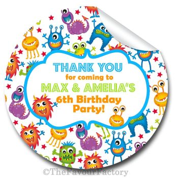 Monsters Personalised Birthday party stickers 1x A4 sheet