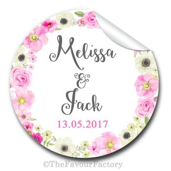 Wedding Favour Stickers Personalised Anna Florals Wreath