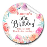 Emma Florals Personalised Adult Birthday Party Bag Favours Stickers, 1xA4 sheet