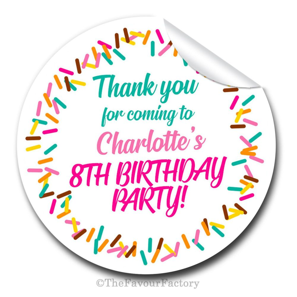 Ice Cream Sprinkles Personalised Birthday Stickers