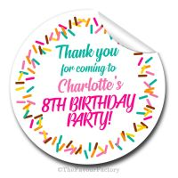Sprinkles Personalised Birthday party stickers 1x A4 sheet