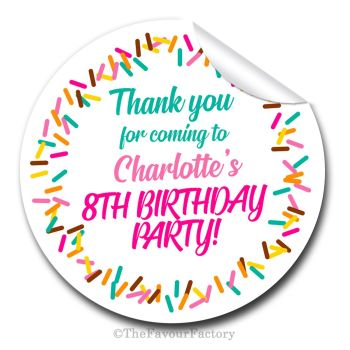 Sprinkles Personalised Birthday party bags sweet cones stickers