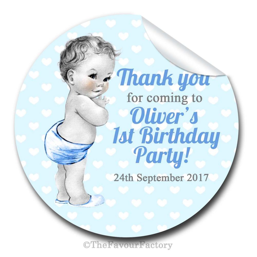 Birthday Stickers Vintage Baby Boy