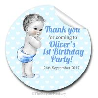 Baby Boy Vintage Birthday party personalised bags stickers 1x A4 sheet
