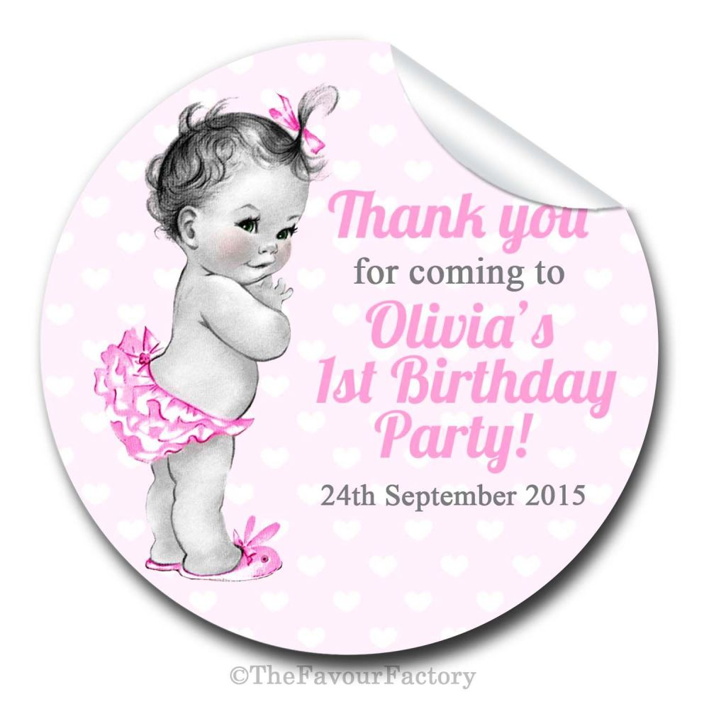 Baby Girl Vintage Personalised Birthday party bags sweet cone stickers labe
