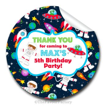 Space Theme Personalised Birthday party stickers 1x A4 sheet