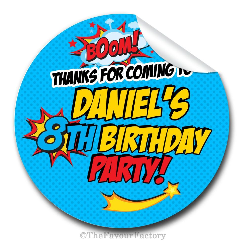 Superhero comic theme personalised birthday party bags stickers