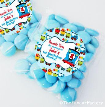 Choo Choo Train Personalised BIRTHDAY PARTY fillers sweet bags KITS x12