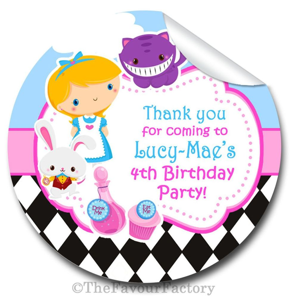 Kids Personalised Stickers Alice In Wonderland