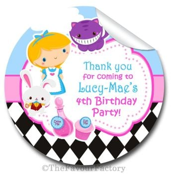 Alice in Wonderland Personalised Birthday party bags sweet cones stickers