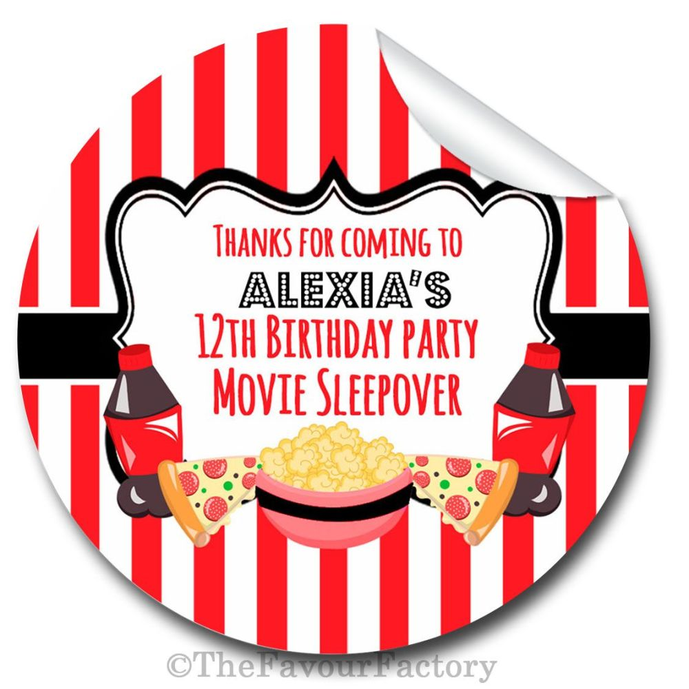 Movie Sleepover Personalised Birthday party bags sweet cones stickers