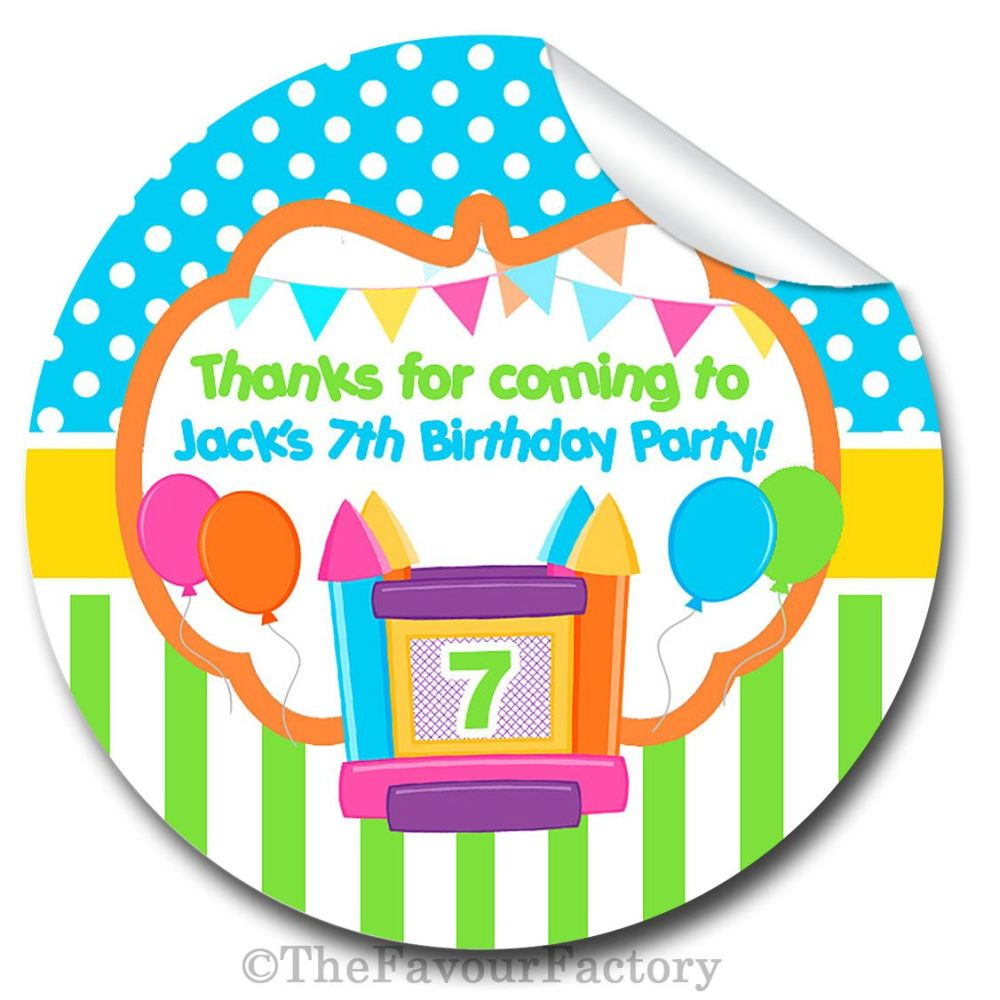 Bouncy Castle Theme Birthday party personalised bags stickers 1x A4 sheet