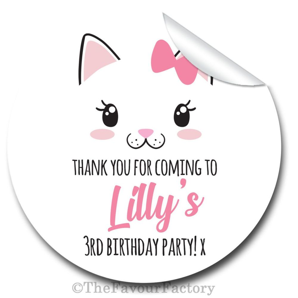 Personalised Birthday Stickers Cute Kitten Cat Face Kawaii
