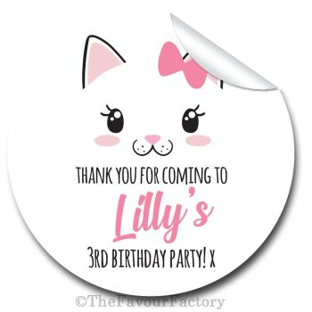 Cute Kitten Cat Face Personalised Birthday party bags sweet cones stickers