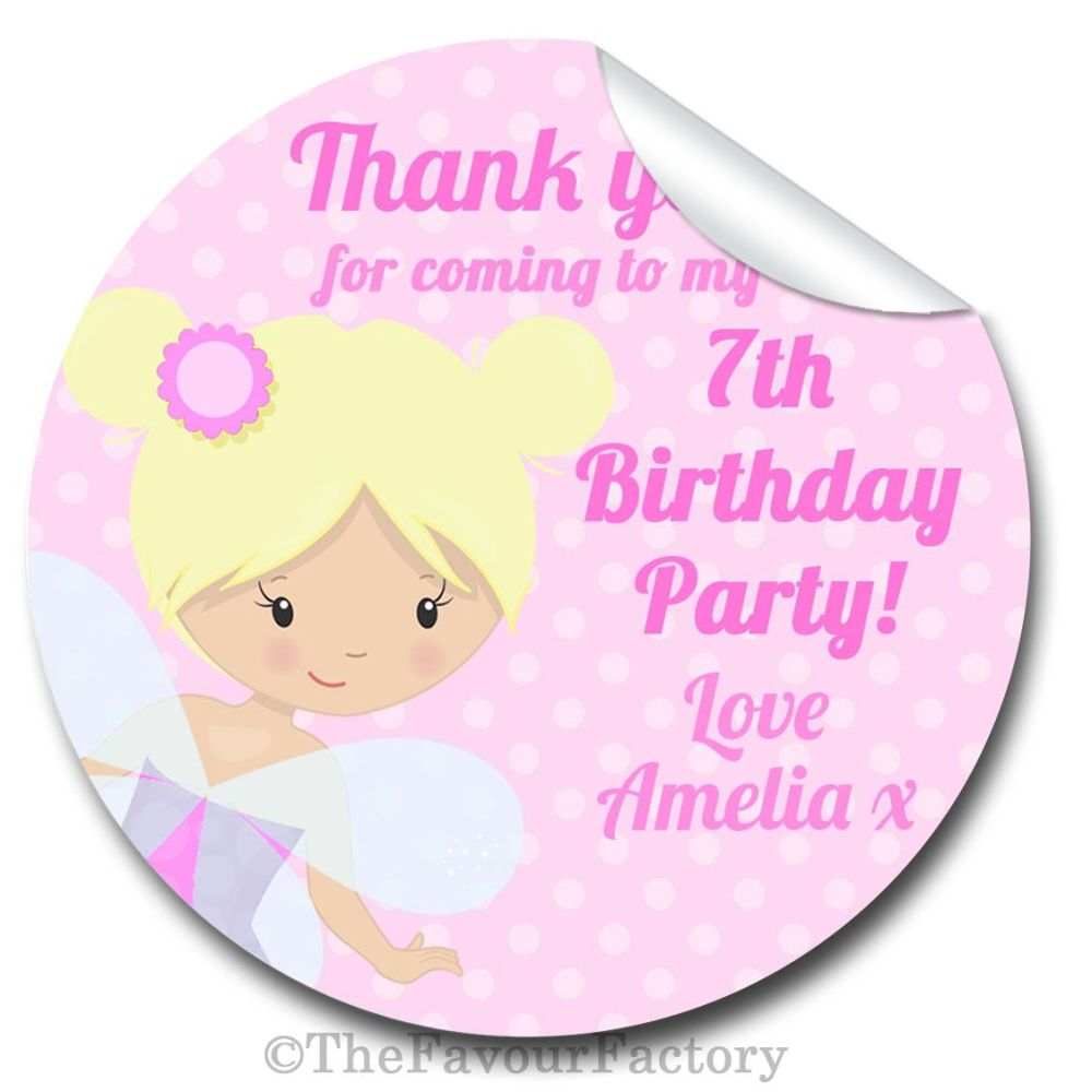 Fairy Personalised Birthday party bags sweet cone stickers labels