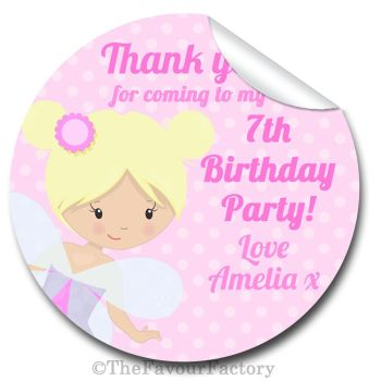 Fairy Personalised Birthday party bags stickers labels 1xA4 sheet
