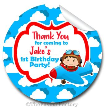 Little Pilot Flying Personalised Birthday party bags sweet cones stickers