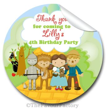 Wizard of Oz Personalised Birthday party bags stickers 1x A4 sheet