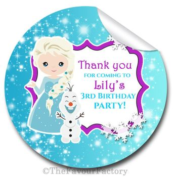 A frozen Snow Princess Personalised Birthday party stickers 1x A4 sheet