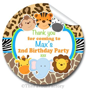 Cute Wild Animals Birthday party personalised bags stickers 1x A4 sheet