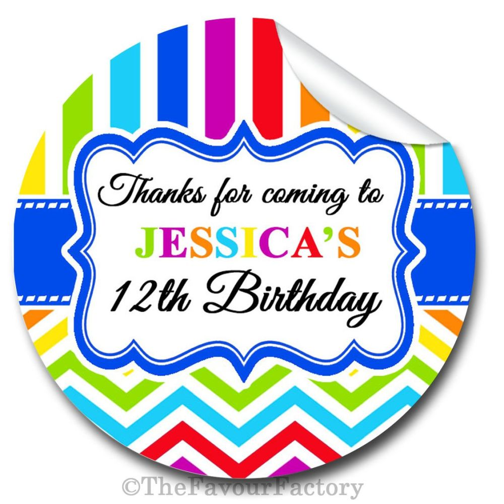 Kids Birthday Party Stickers Labels Birthday Brights