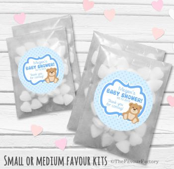 Teddy Bear Blue Personalised Baby Shower Party Glassine Paper Favour Bags Kits x12