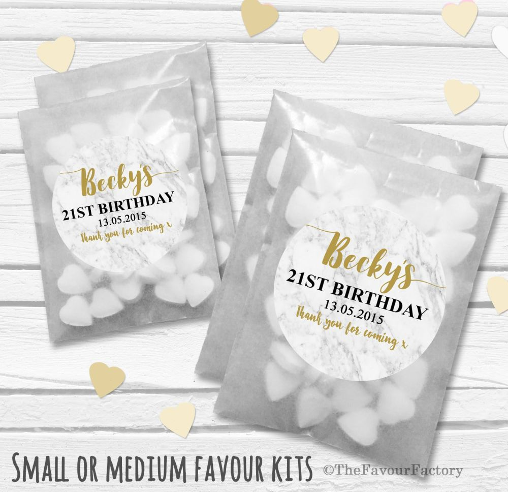 Personalised Adult Birthday Party Favours Glassine Bags Kits x12