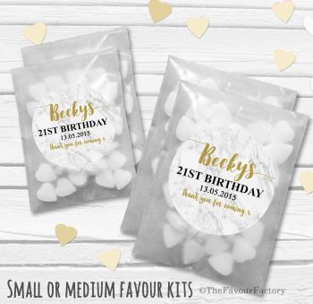Marble Personalised Adult Birthday Party Favours Glassine Bags Kits x12