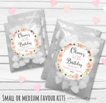Jessica Florals Personalised Adult Birthday Party Favours Glassine Bags Kits x12