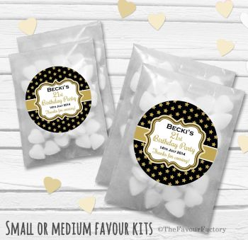 Stars Personalised Adult Birthday Party Favours Glassine Bags Kits x12