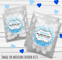 Confetti Blue Personalised Adult Birthday Party Favours Glassine Bags Kits x12