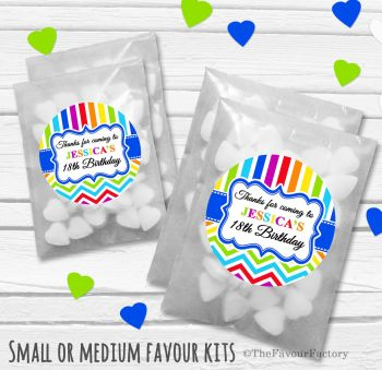 Rainbow Brights Personalised Adult Birthday Party Favours Glassine Bags Kits x12