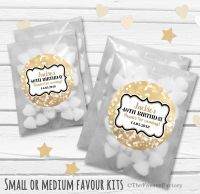 Bokeh Sparkles Personalised Adult Birthday Party Favours Glassine Bags Kits x12