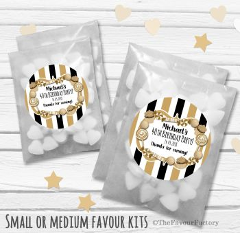 Candy Stripe Sweets Personalised Adult Birthday Party Favours Glassine Bags Kits x12