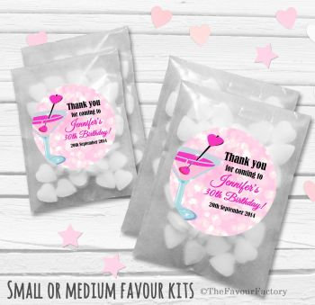 Cocktail Hearts Personalised Adult Birthday Party Favours Glassine Bags Kits x12